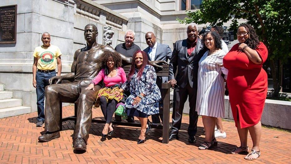 FILE- Statue of George Floyd in Newark, NJ.