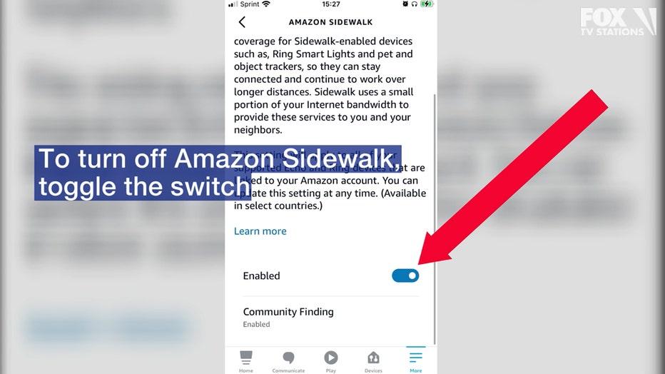 To turn off Amazon Sidewalk, toggle the switch