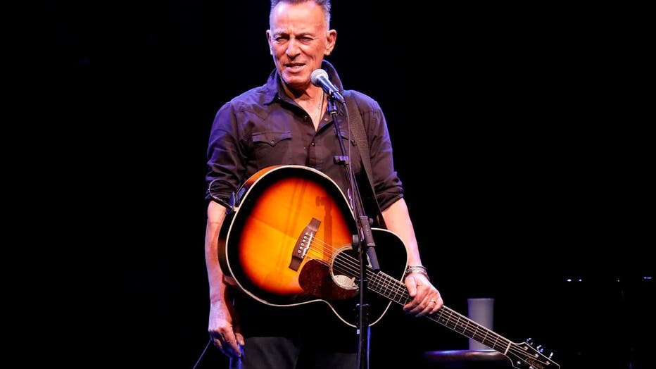 """Bruce Springsteen performs during reopening night of """"Springsteen on Broadway"""" for a full-capacity, vaccinated audience at St. James Theatre"""
