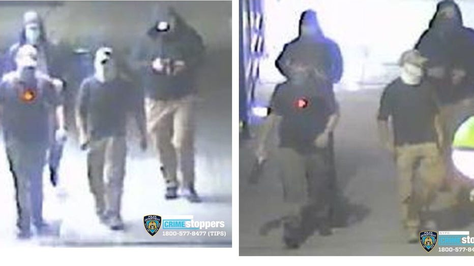 The NYPD wants to find the four men seen on surveillance video walking towards the statue of George Floyd that was defaced in Flatbush.