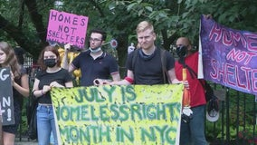 Protesters rally to oppose moving homeless New Yorkers from hotels to shelters