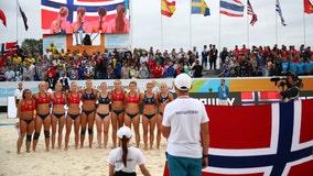 Norwegian women's beach handball team fined for 'improper clothing' over shorts