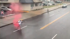WATCH: Dye pack explodes on suspected bank robber in New Jersey