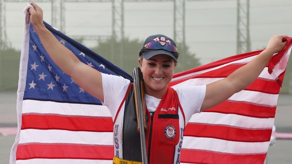 US Army's Amber English sets Olympic record, snags gold in skeet shooting