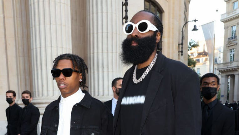 PARIS, FRANCE - JULY 07: Lil Baby and James Harden are seen arriving at a Balenciaga dinner at the Bourse De Commerce Pinault Collection on July 07, 2021 in Paris, France.