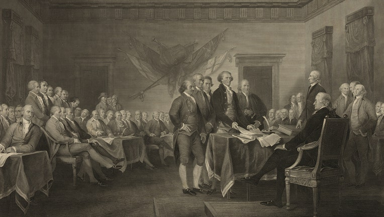 An engraving showing the Founding Father presenting the Declaration of Independence