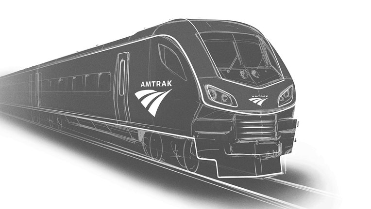 A black and white rendering of an Amtrak locomotive