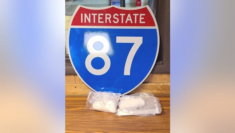 An image released by the NY State Police shows the cocaine they say they found in a diaper bag a Bronx mother was carrying. (NY State Police)