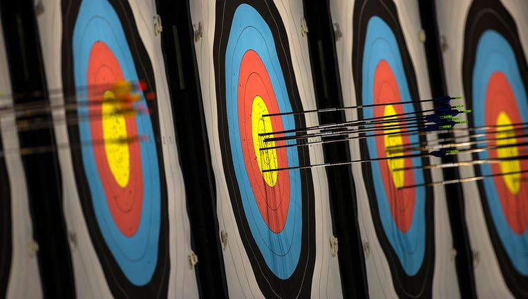 A general view of arrows in the target during practice at the Yumenoshima Park Archery Field ahead of the Tokyo 2020 Olympic Games on July 21, 2021 in Tokyo, Japan. (Photo by Justin Setterfield/Getty Images)