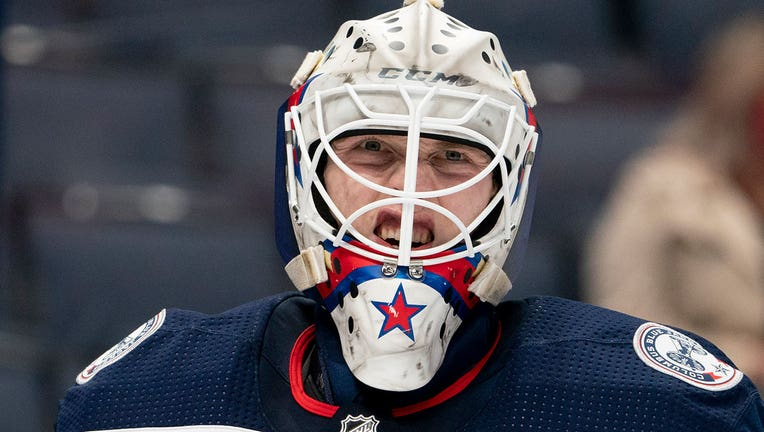 Matiss Kivlenieks #80 of the Columbus Blue Jackets looks on during the game between the Columbus Blue Jackets and the Detroit Red Wings at Nationwide Arena in Columbus, Ohio on May 8, 2021. (Photo by Jason Mowry/Icon Sportswire via Getty Images)