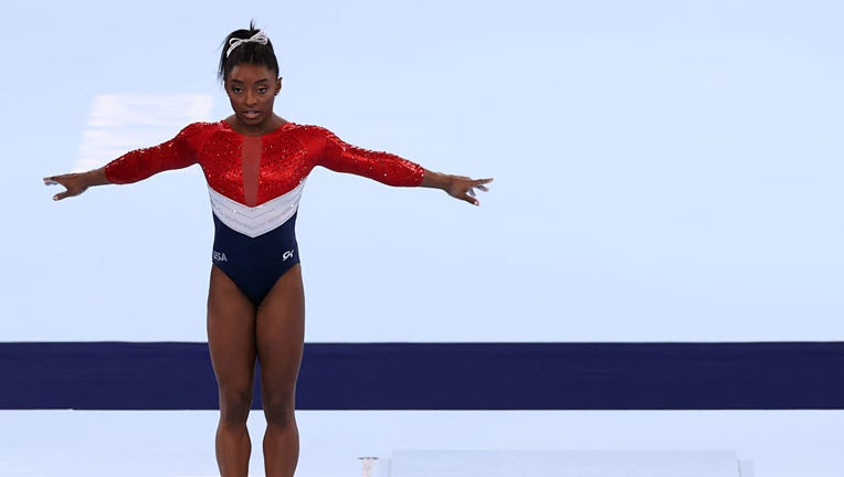 Simone Biles of Team United States competes on vault during the Women's Team Final on day four of the Tokyo 2020 Olympic Games at Ariake Gymnastics Centre on July 27, 2021 in Tokyo, Japan. (Photo by Jamie Squire/Getty Images)