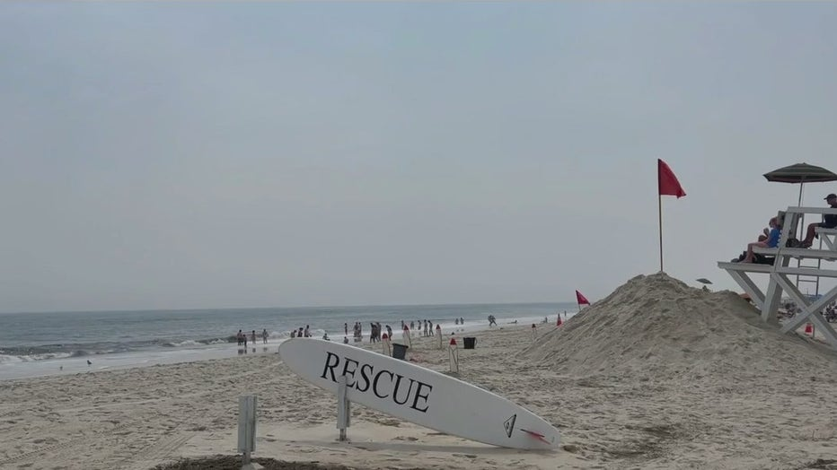 Officials were investigating a possible shark attack on a lifeguard at Jones Beach on Long Island.