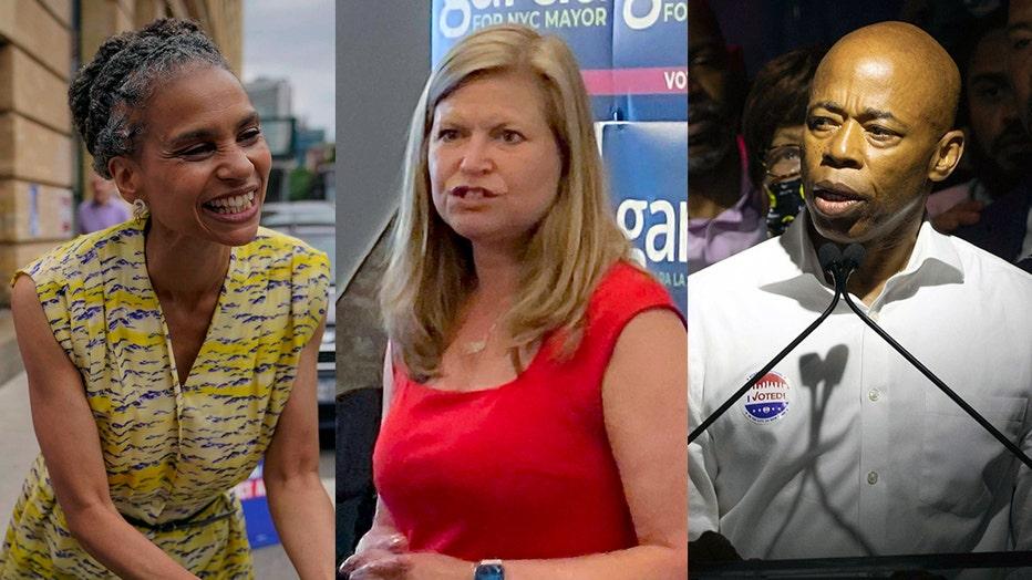 Combination of 3 photos showing candidates for mayor Maya Wiley, Kathryn Garcia, and Eric Adams