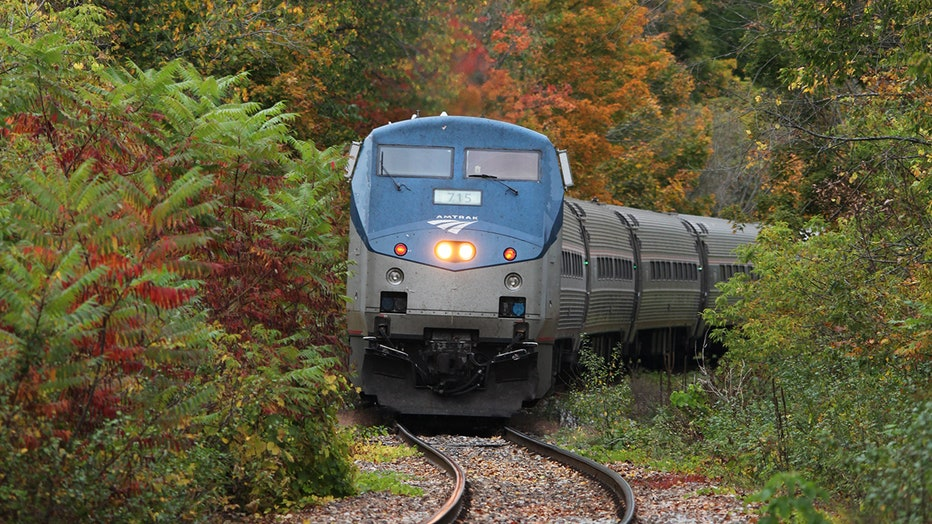 An Amtrak train passes colorful trees on an autumn day