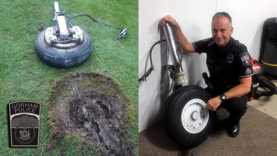 A police sergeant poses with the fallen landing gear (right). The gear next to the crater it caused in a golf course (left).