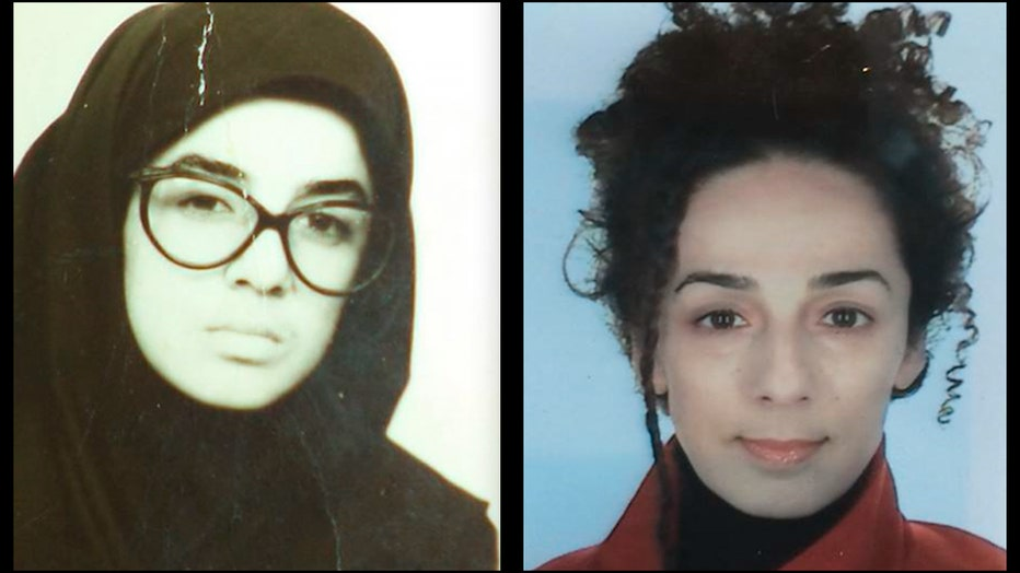Two headshots of writer Masih Alinejad; on left, she wears glasses and a head covering; on right, her hair is uncovered