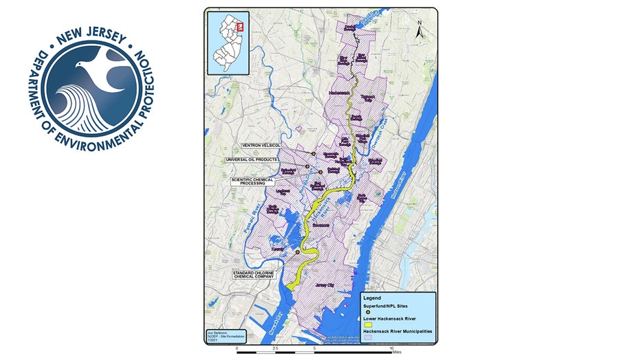 A map of the lower Hackensack River region