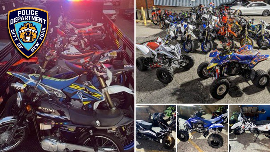 Images of illegal dirt bikes, ATVs, scooters
