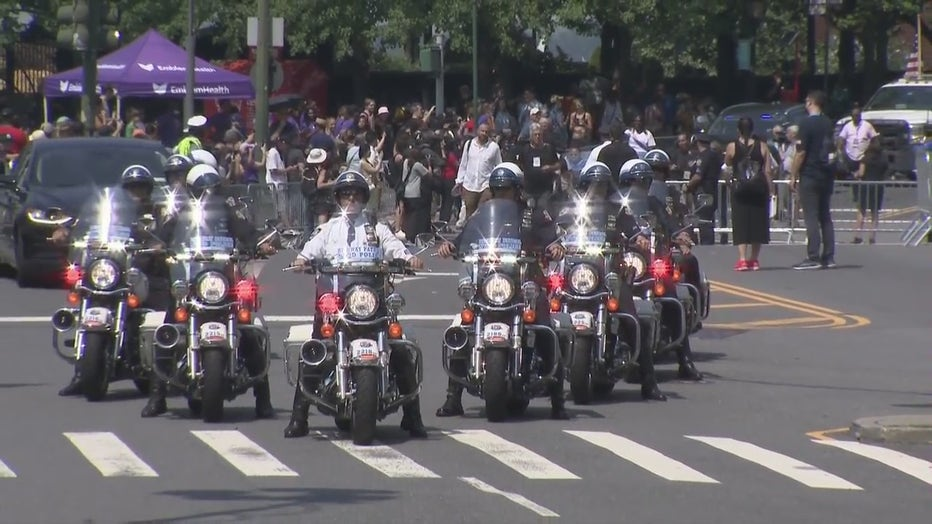The NYPD lead the parade participants up the Canyon of Heroes. (FOX 5 NY)