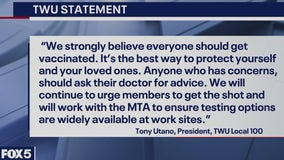 NYC-area transit workers must get vaccinated or tested