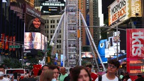 Knocked over planter causes panic in Times Square
