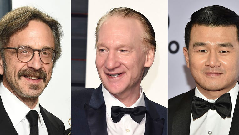This combination photo shows comedians, from left, Marc Maron, Bill Maher and Ronny Chieng, who will join Michelle Wolf as headliners of this year's New York Comedy Festival.