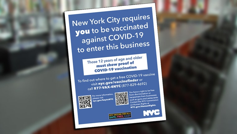 NYC vaccination mandate poster superimposed on a blurred image of a bar