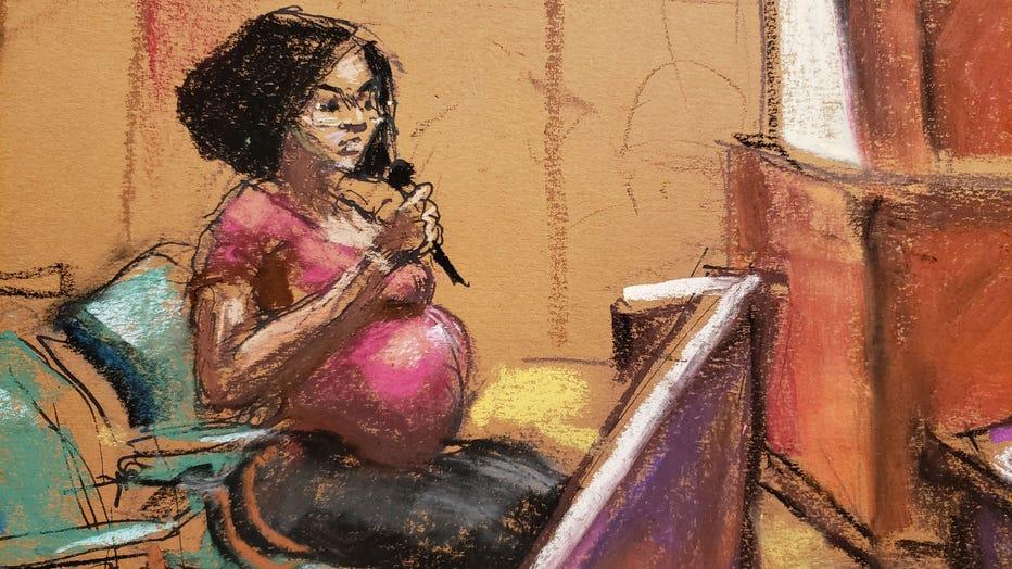 Jerhonda Pace testifies against R&B superstar R. Kelly in his federal sex trafficking trial. (Sketch by Jane Rosenberg)