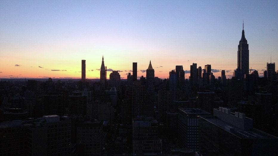 The Midtown Manhattan skyline at dusk
