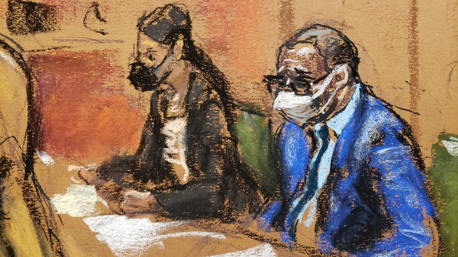 Defense attorney Nicole Blank Becker (left) and R&B star R. Kelly (right) during day two of his sex trafficking trial in federal court in Downtown Brooklyn. (Sketch by Jane Rosenberg)