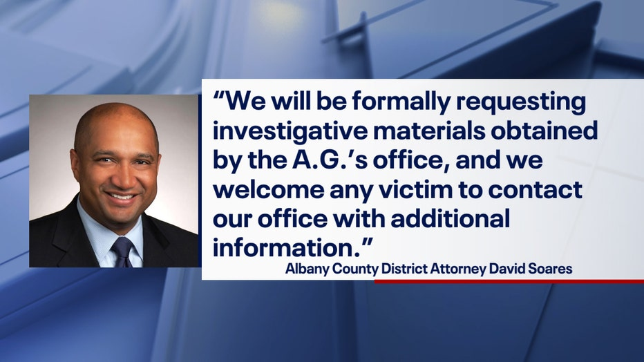 """A graphic combining a headshot of Albany DA David Soares with an excerpt from his statement: """"We will be formally requesting investigative materials obtained by the AG's Office, and we welcome any victim to contact our office with additional information."""""""