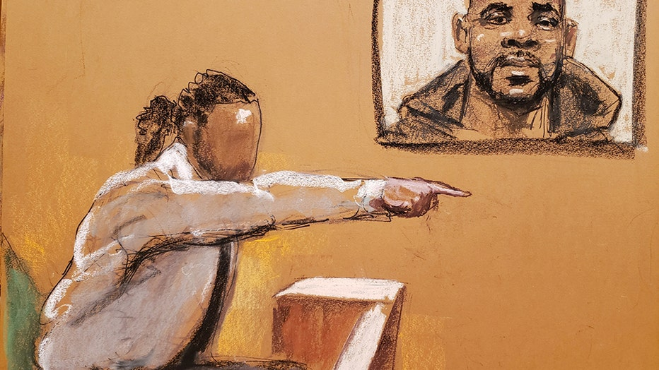 Sketch of a man testifying in court, pointing