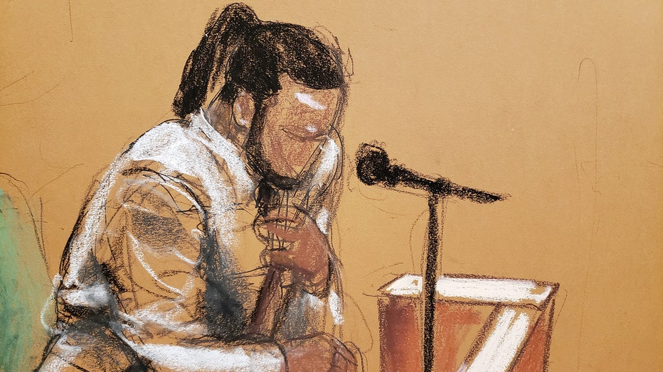 Sketch of a man testifying in court