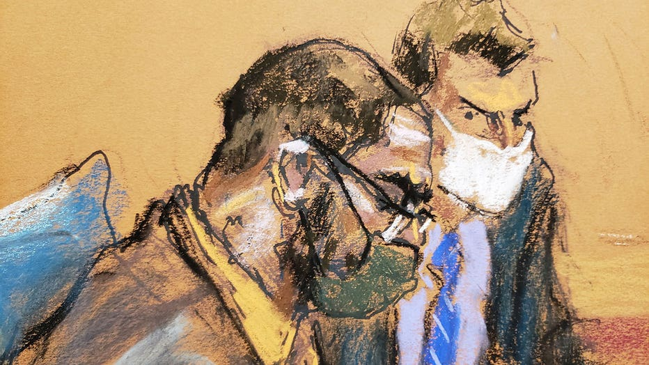 R. Kelly (left) and defense attorney Thomas Farinella are seen in a courtroom sketch from Monday, Aug. 23, 2021. (Sketch by Jane Rosenberg)
