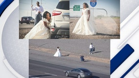 Love on the freeway: Couple talks about their now-viral wedding photo shoot on I-17
