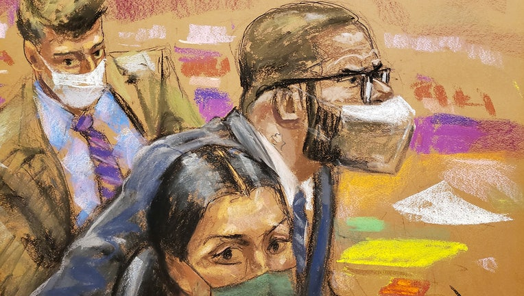 A sketch showing R. Kelly and his lawyers in court