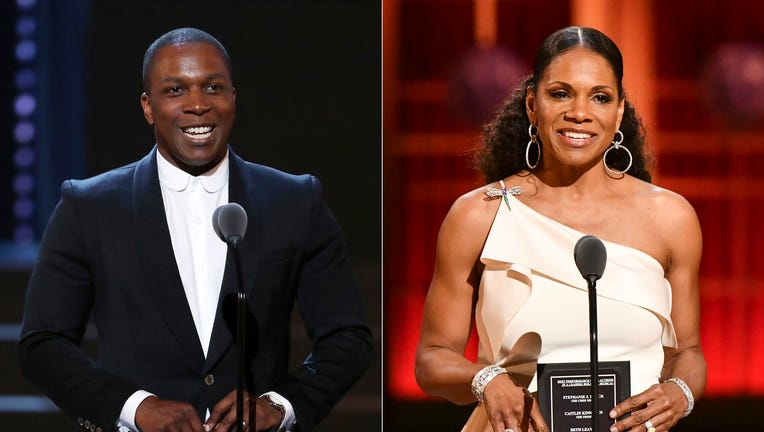 Leslie Odom Jr. presents an award at the 72nd annual Tony Awards in New York on June 10, 2018, left, and Audra McDonald presents an award at the 73rd annual Tony Awards in New York on June 9, 2019.