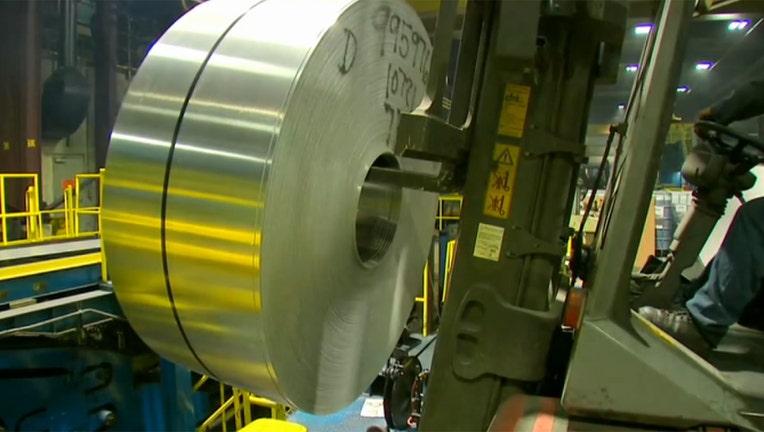 Inside an aluminum factory.