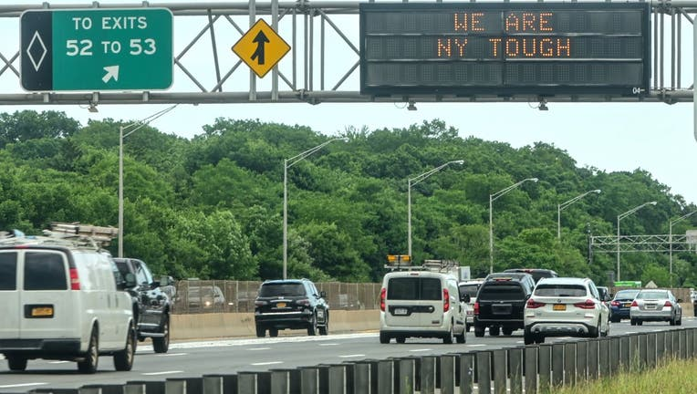 Traffic in the Eastbound lanes of the Long Island Expressway