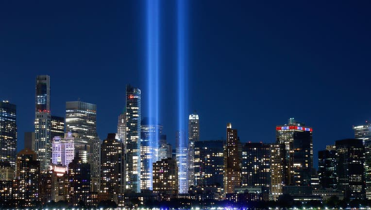 The annual Tribute in Light that will mark the 20th anniversary of the attacks on the World Trade Center is tested in New York City on September 3, 2021 as seen from Jersey City, New Jersey.