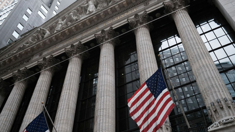 FILE - The New York Stock Exchange (NYSE) stands in lower Manhattan.