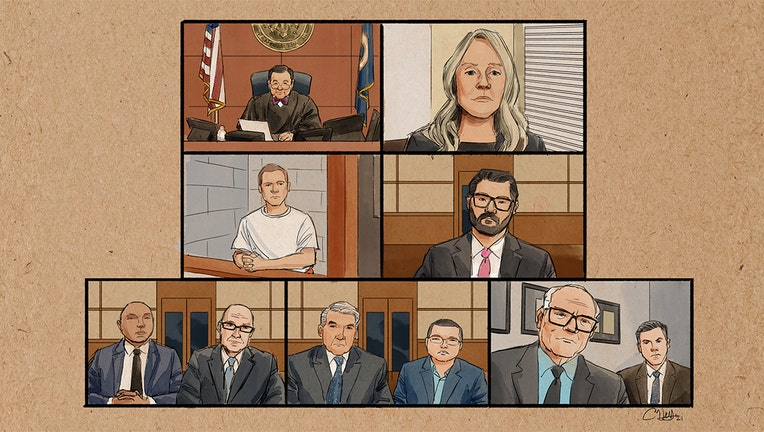 MPD officers federal arraignment courtroom sketch