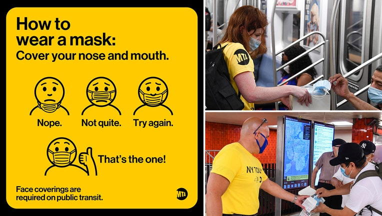 MTA workers wearing white masks and yellow shirts hand out masks to riders