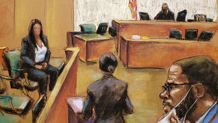 This courtroom sketch shows Assistant U.S. Attorney Maria Cruz Melendez (center) questioning a witness (seated, left) as R. Kelly (right) watches