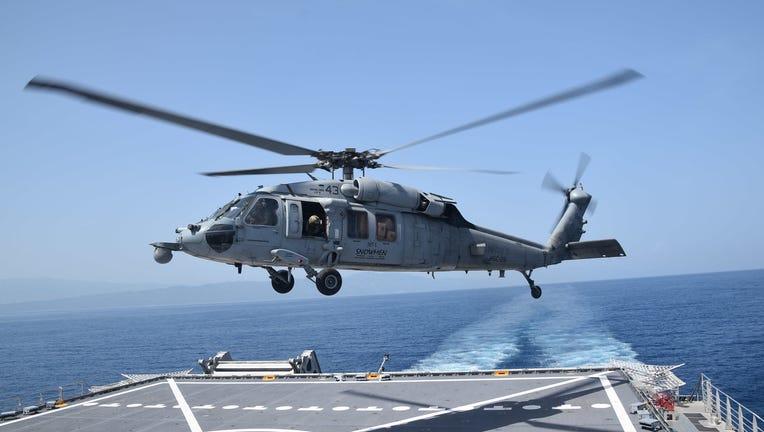 FILE - CARIBBEAN SEA (Aug. 28, 2021) An MH-60S Sea Hawk helicopter.