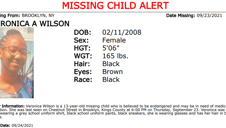 Veronica Wilson, 13, of Brooklyn was reported missing. She could be in imminent danger, said the NYPD.