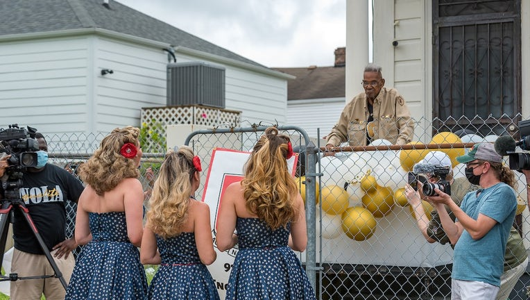 Lawrence Brooks, America's oldest living World War II veteran, celebrates his 112th birthday outside of his home on Sept. 12, 2021. Photo courtesy of The National WWII Museum/Frank L. Aymani III.