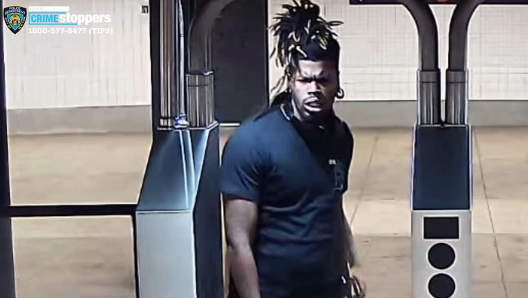 The NYPD released an image of a man wanted in connection with a man being stabbed on a subway train.
