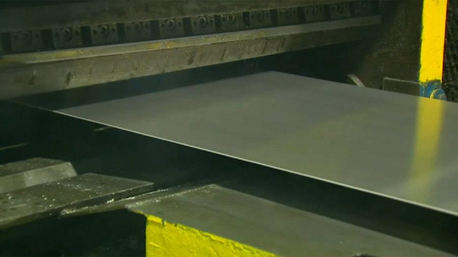 A sheet of aluminum in a factory