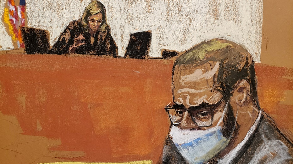sketch showing r. kelly in glasses and mask with judge behind bench